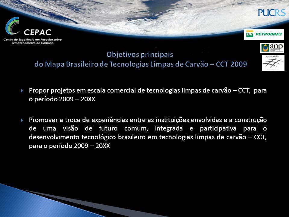 Propor projetos em escala comercial de tecnologias limpas de carvão – CCT, para o período 2009 – 20XX Promover a troca de experiências entre as instit