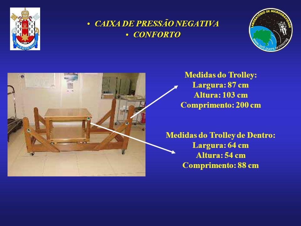 CAIXA DE PRESSÃO NEGATIVACAIXA DE PRESSÃO NEGATIVA CONFORTOCONFORTO Medidas do Trolley: Largura: 87 cm Altura: 103 cm Comprimento: 200 cm Medidas do T