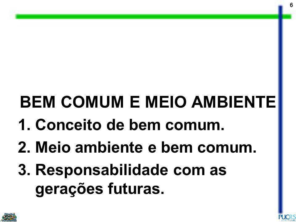 6 BEM COMUM E MEIO AMBIENTE 1.Conceito de bem comum.