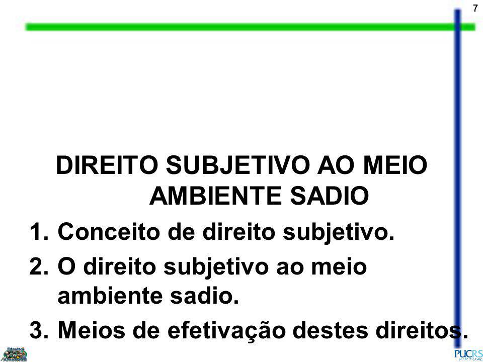 7 DIREITO SUBJETIVO AO MEIO AMBIENTE SADIO 1.Conceito de direito subjetivo.