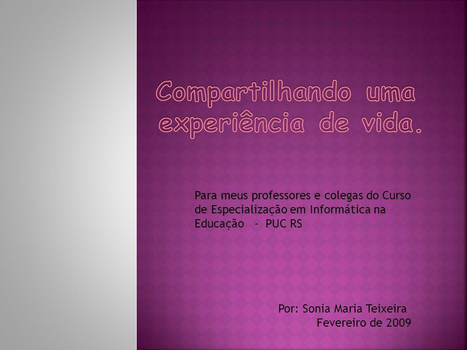 Por: Sonia Maria Teixeira Fevereiro de 2009 Para meus professores e colegas do Curso de Especialização em Informática na Educação - PUC RS