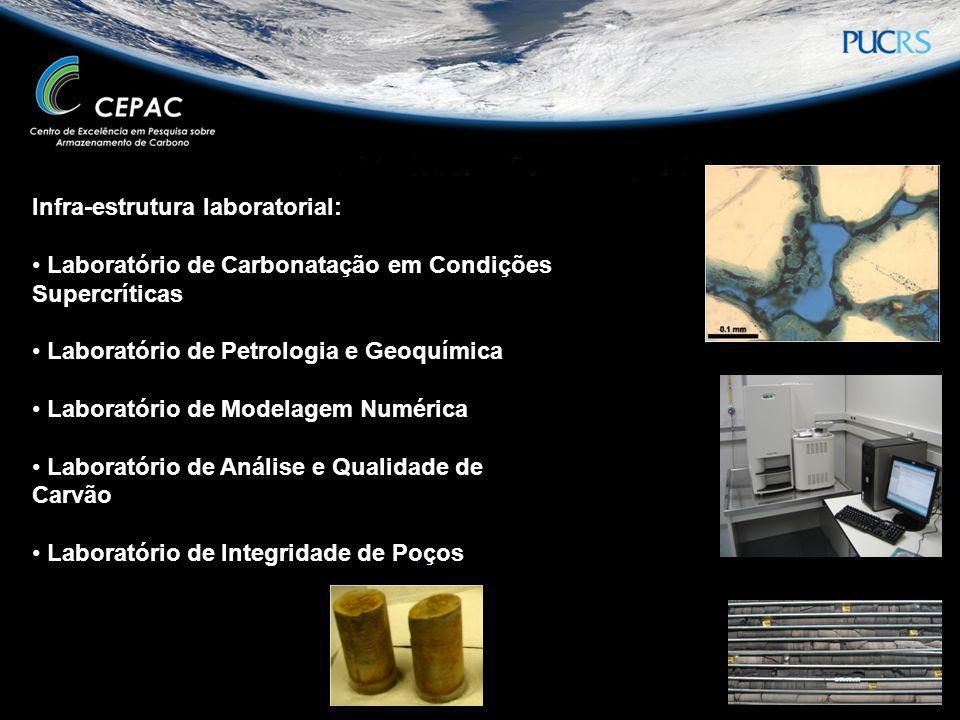 Infra-estrutura laboratorial: Laboratório de Carbonatação em Condições Supercríticas Laboratório de Petrologia e Geoquímica Laboratório de Modelagem N