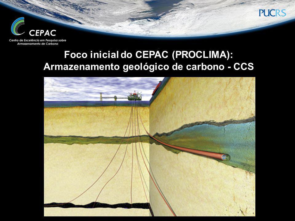 Foco inicial do CEPAC (PROCLIMA): Armazenamento geológico de carbono - CCS