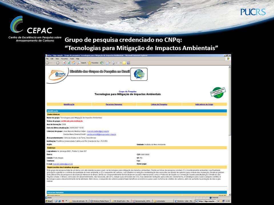 Grupo de pesquisa credenciado no CNPq: Tecnologias para Mitigação de Impactos Ambientais