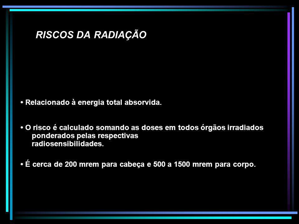RISCOS DA RADIAÇÃO Relacionado à energia total absorvida. O risco é calculado somando as doses em todos órgãos irradiados ponderados pelas respectivas