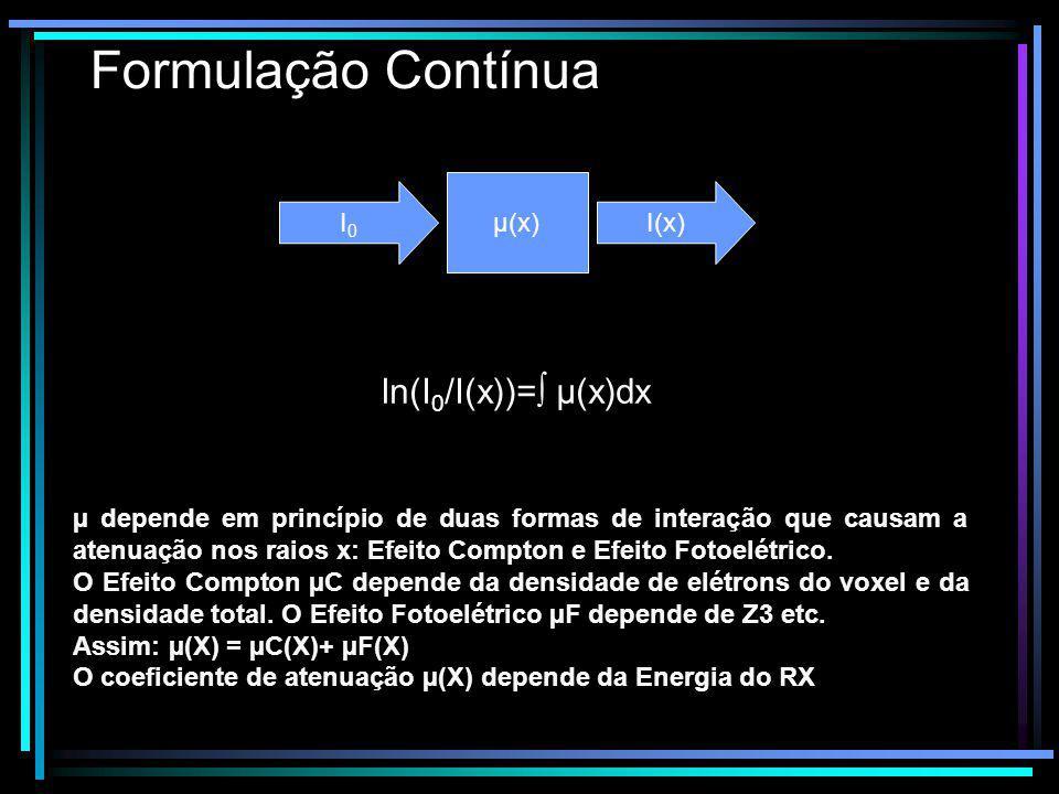 Formulação Contínua µ depende em princípio de duas formas de interação que causam a atenuação nos raios x: Efeito Compton e Efeito Fotoelétrico. O Efe
