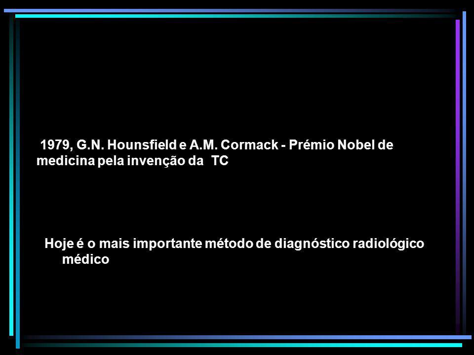Hoje é o mais importante método de diagnóstico radiológico médico 1979, G.N. Hounsfield e A.M. Cormack - Prémio Nobel de medicina pela invenção da TC