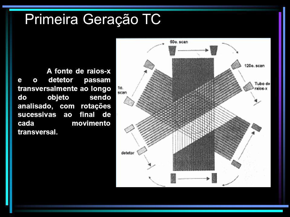Primeira Geração TC A fonte de raios-x e o detetor passam transversalmente ao longo do objeto sendo analisado, com rotações sucessivas ao final de cad