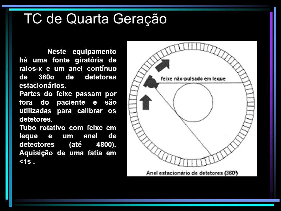 TC de Quarta Geração Neste equipamento há uma fonte giratória de raios-x e um anel contínuo de 360o de detetores estacionários. Partes do feixe passam