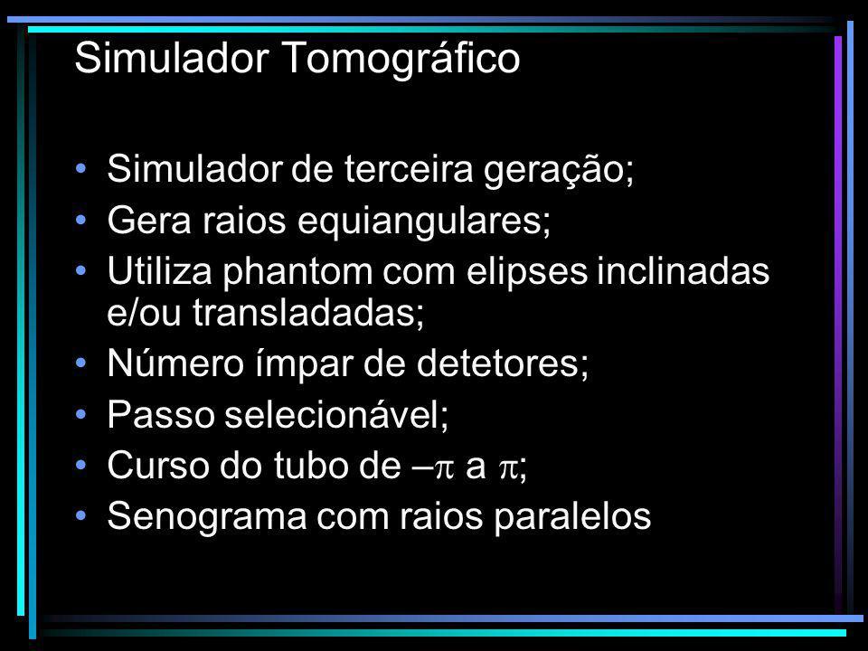 Simulador Tomográfico Simulador de terceira geração; Gera raios equiangulares; Utiliza phantom com elipses inclinadas e/ou transladadas; Número ímpar