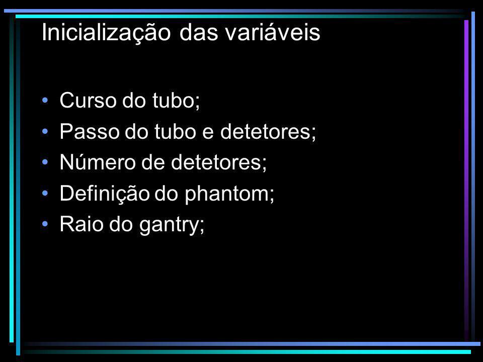 Inicialização das variáveis Curso do tubo; Passo do tubo e detetores; Número de detetores; Definição do phantom; Raio do gantry;