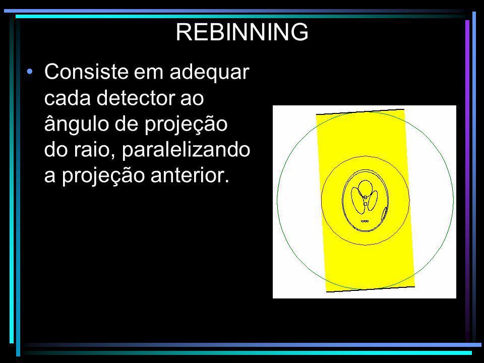 Consiste em adequar cada detector ao ângulo de projeção do raio, paralelizando a projeção anterior. REBINNING