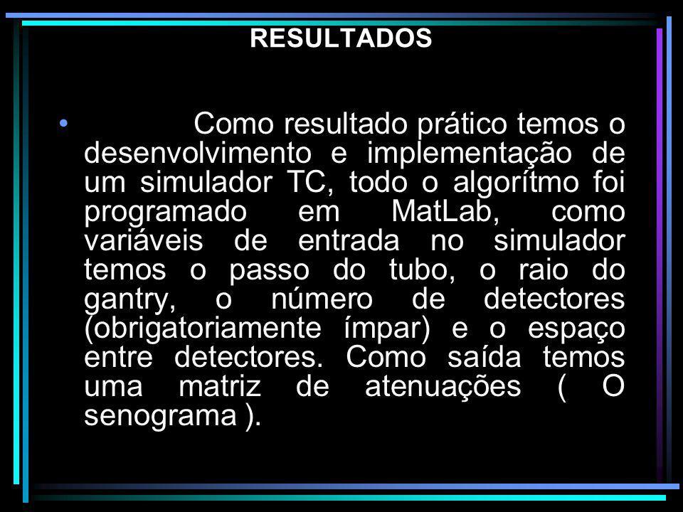 RESULTADOS Como resultado prático temos o desenvolvimento e implementação de um simulador TC, todo o algorítmo foi programado em MatLab, como variávei