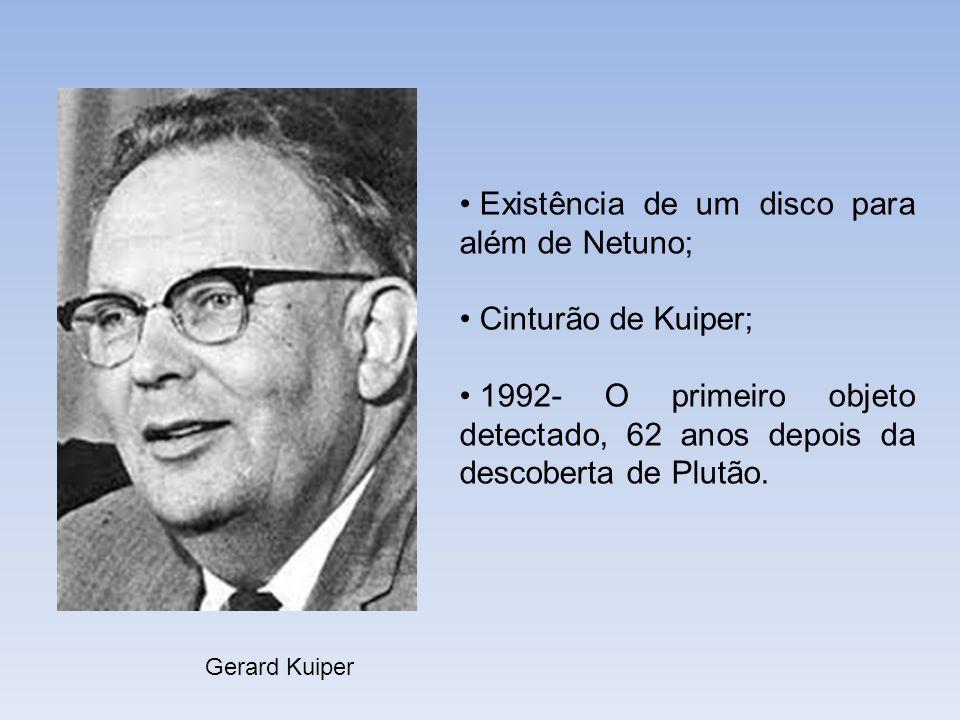 Gerard Kuiper Existência de um disco para além de Netuno; Cinturão de Kuiper; 1992- O primeiro objeto detectado, 62 anos depois da descoberta de Plutã
