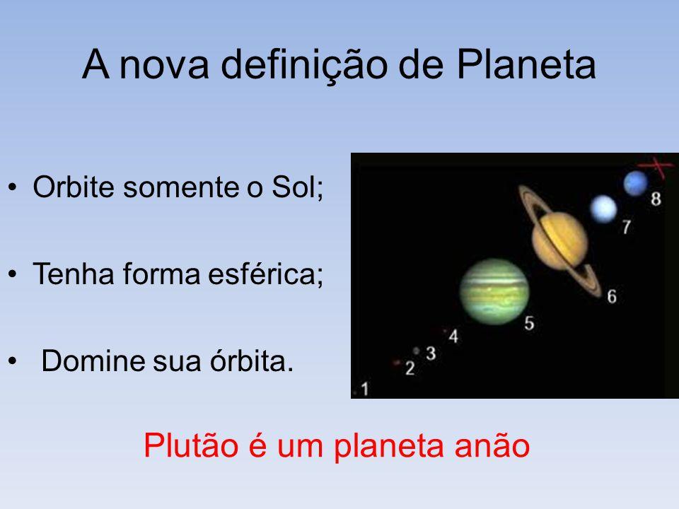 A nova definição de Planeta Orbite somente o Sol; Tenha forma esférica; Domine sua órbita. Plutão é um planeta anão