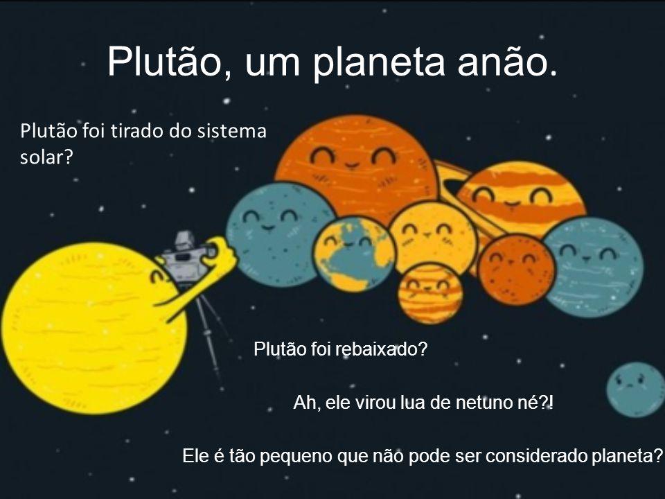 Plutão, um planeta anão. Plutão foi rebaixado? Ah, ele virou lua de netuno né?! Ele é tão pequeno que não pode ser considerado planeta? Plutão foi tir