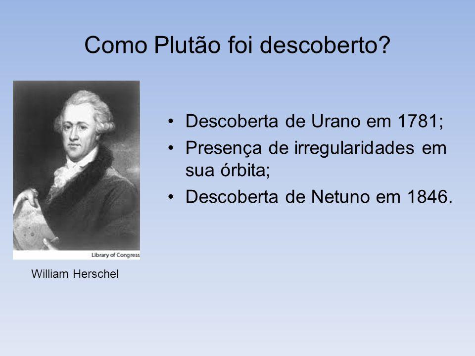 Como Plutão foi descoberto? William Herschel Descoberta de Urano em 1781; Presença de irregularidades em sua órbita; Descoberta de Netuno em 1846.