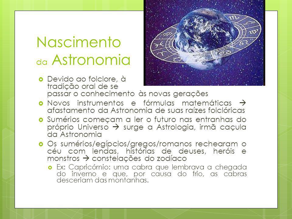 Nascimento da Astronomia Devido ao folclore, à tradição oral de se passar o conhecimento às novas gerações Novos instrumentos e fórmulas matemáticas a