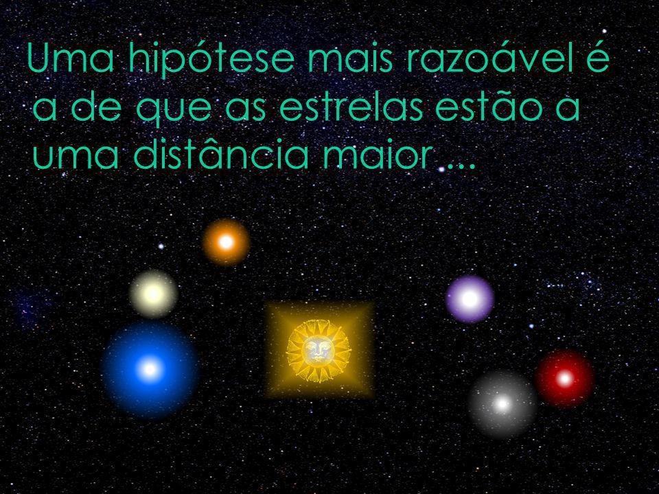 Uma hipótese mais razoável é a de que as estrelas estão a uma distância maior...