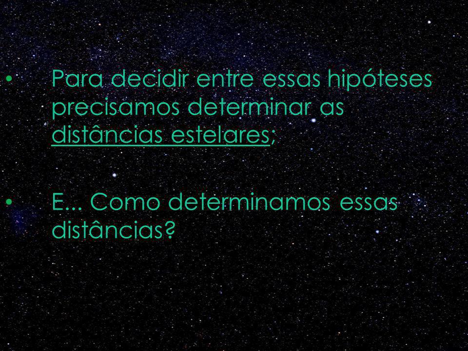 Para decidir entre essas hipóteses precisamos determinar as distâncias estelares; E... Como determinamos essas distâncias?