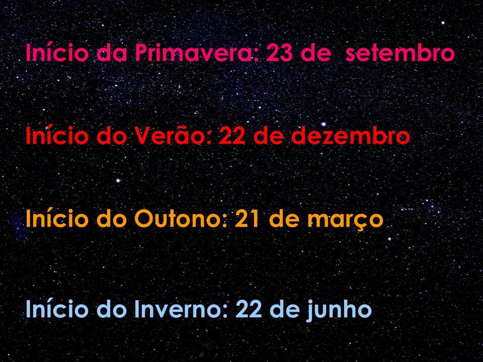 Início do Outono: 21 de março Início da Primavera: 23 de setembro Início do Inverno: 22 de junho Início do Verão: 22 de dezembro