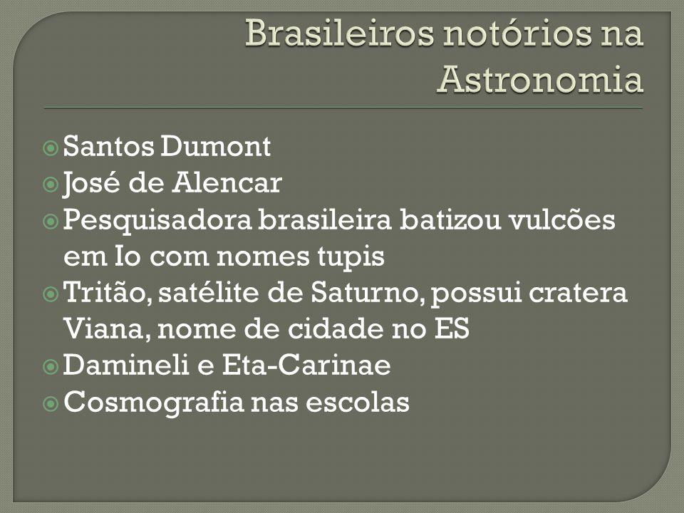 Santos Dumont José de Alencar Pesquisadora brasileira batizou vulcões em Io com nomes tupis Tritão, satélite de Saturno, possui cratera Viana, nome de cidade no ES Damineli e Eta-Carinae Cosmografia nas escolas