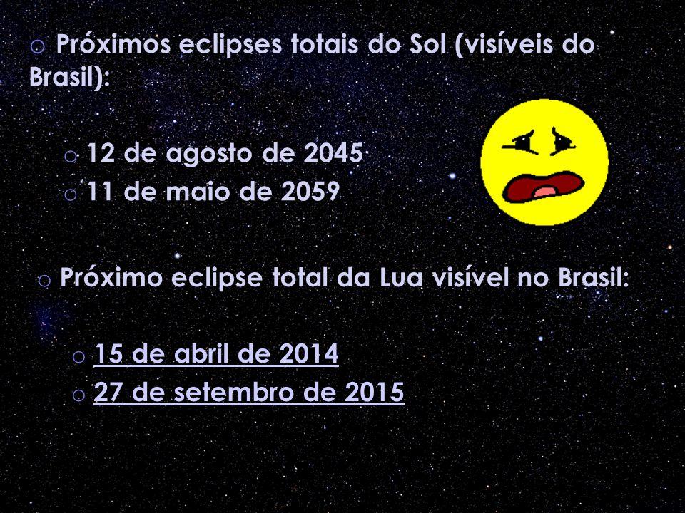 o Próximos eclipses totais do Sol (visíveis do Brasil): o 12 de agosto de 2045 o 11 de maio de 2059 o Próximo eclipse total da Lua visível no Brasil: