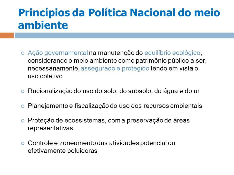 Princípios da Política Nacional do meio ambiente Ação governamental na manutenção do equilíbrio ecológico, considerando o meio ambiente como patrimôni