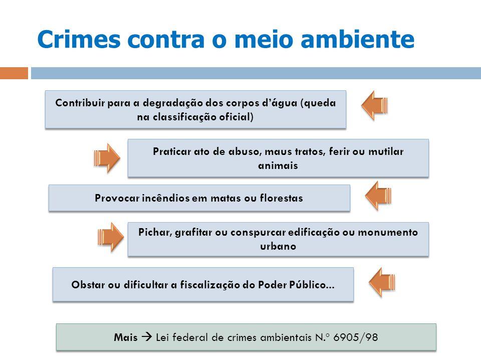 Crimes contra o meio ambiente Contribuir para a degradação dos corpos dágua (queda na classificação oficial) Praticar ato de abuso, maus tratos, ferir