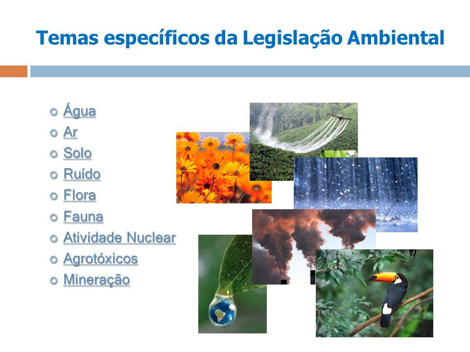 Temas específicos da Legislação Ambiental Água Água Ar Ar Solo Solo Ruído Ruído Flora Flora Fauna Fauna Atividade Nuclear Atividade Nuclear Agrotóxico