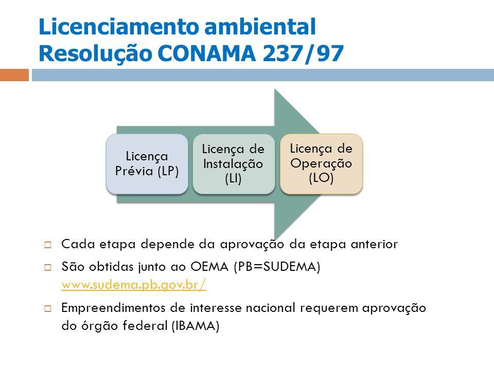 Licenciamento ambiental Resolução CONAMA 237/97 Cada etapa depende da aprovação da etapa anterior São obtidas junto ao OEMA (PB=SUDEMA) www.sudema.pb.