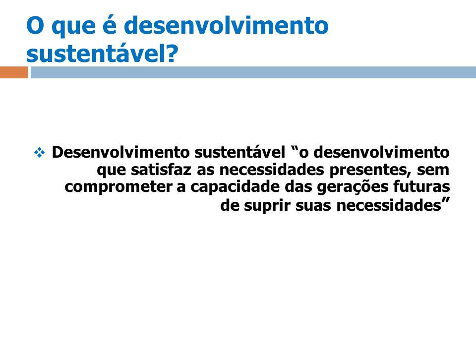 O que é desenvolvimento sustentável? Desenvolvimento sustentável o desenvolvimento que satisfaz as necessidades presentes, sem comprometer a capacidad