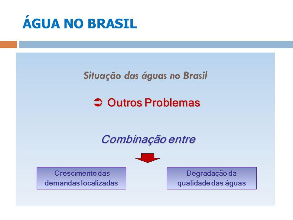 ÁGUA NO BRASIL Situação das águas no Brasil Outros Problemas Outros Problemas Combinação entre Crescimento das demandas localizadas Crescimento das de