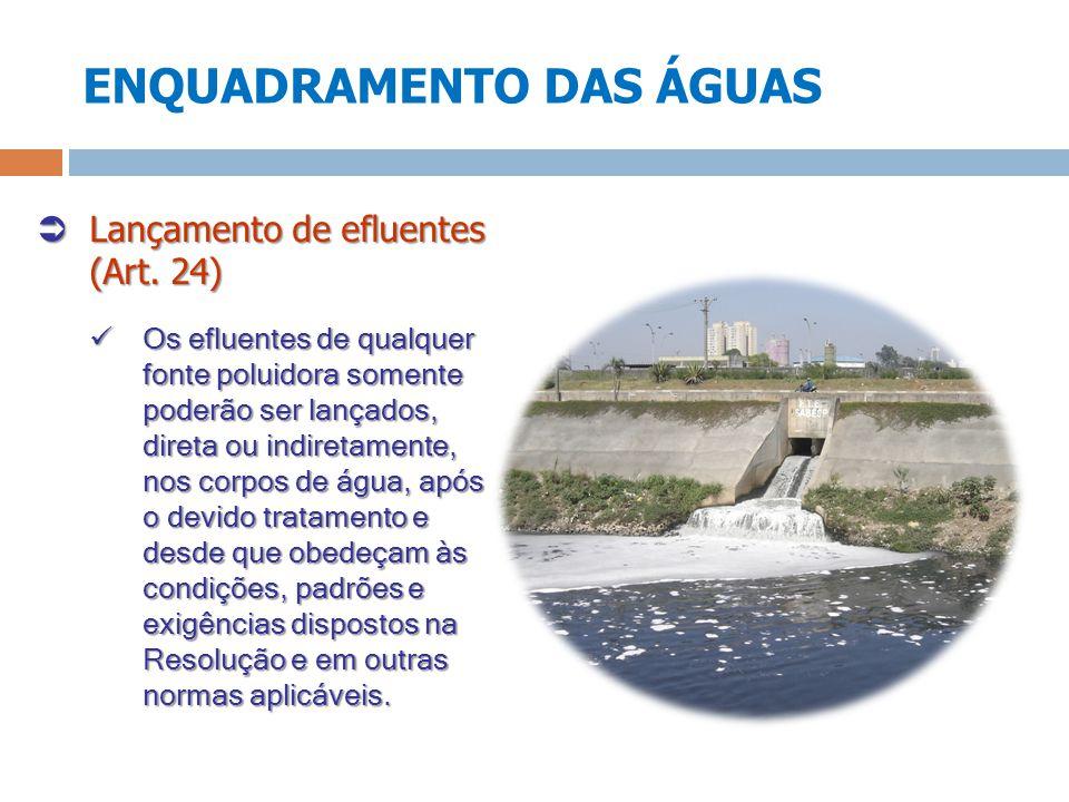 ENQUADRAMENTO DAS ÁGUAS Lançamento de efluentes (Art. 24) Lançamento de efluentes (Art. 24) Os efluentes de qualquer fonte poluidora somente poderão s