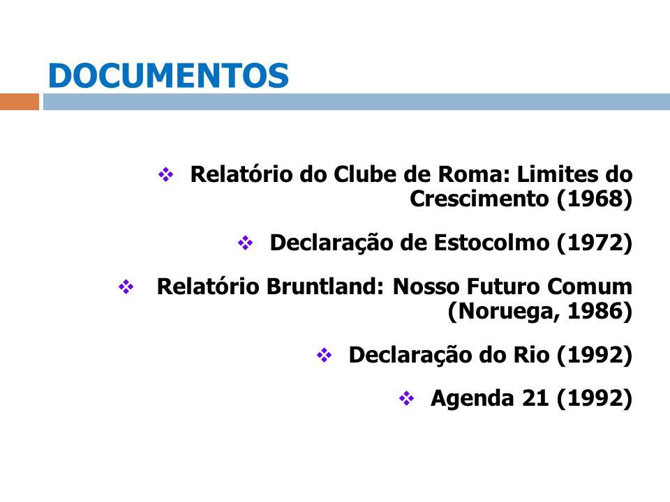 DOCUMENTOS Relatório do Clube de Roma: Limites do Crescimento (1968) Declaração de Estocolmo (1972) Relatório Bruntland: Nosso Futuro Comum (Noruega,