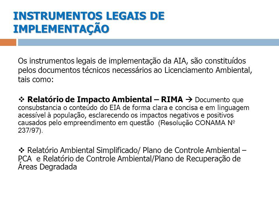 INSTRUMENTOS LEGAIS DE IMPLEMENTAÇÃO Os instrumentos legais de implementação da AIA, são constituídos pelos documentos técnicos necessários ao Licenci