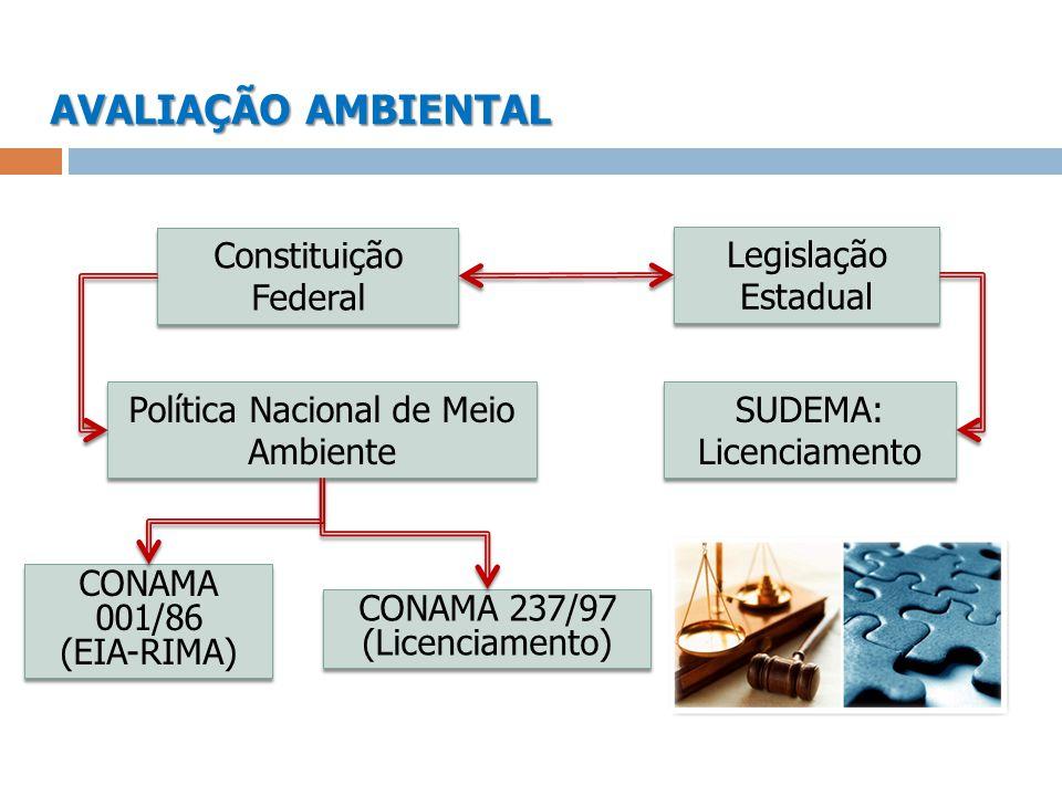 AVALIAÇÃO AMBIENTAL Legislação Estadual SUDEMA: Licenciamento SUDEMA: Licenciamento Constituição Federal Política Nacional de Meio Ambiente CONAMA 001