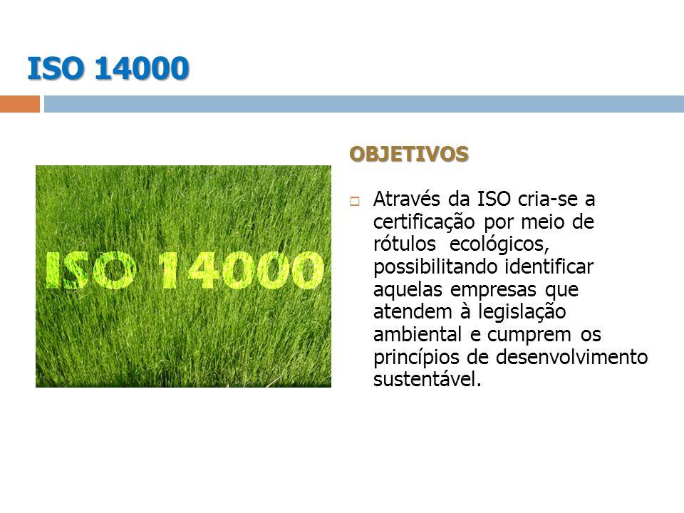 OBJETIVOS Através da ISO cria-se a certificação por meio de rótulos ecológicos, possibilitando identificar aquelas empresas que atendem à legislação a