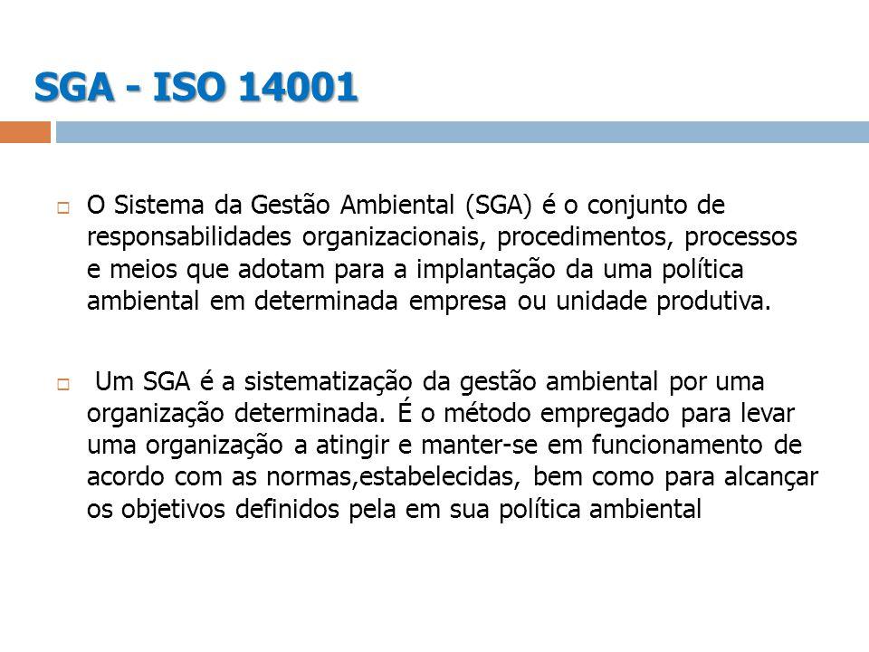 SGA - ISO 14001 O Sistema da Gestão Ambiental (SGA) é o conjunto de responsabilidades organizacionais, procedimentos, processos e meios que adotam par