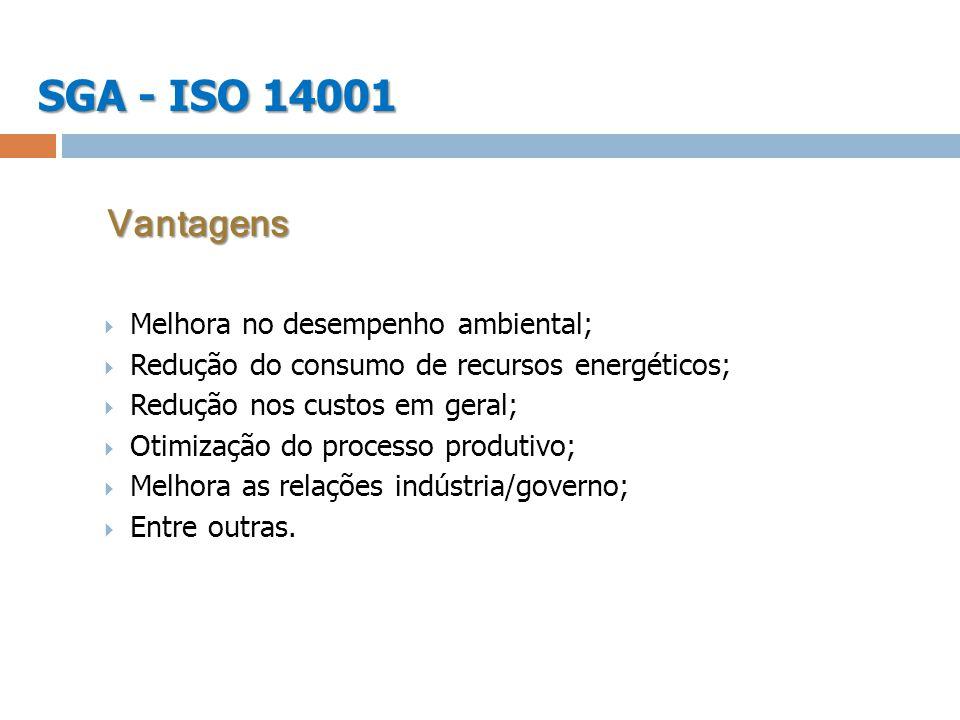 SGA - ISO 14001 Melhora no desempenho ambiental; Redução do consumo de recursos energéticos; Redução nos custos em geral; Otimização do processo produ
