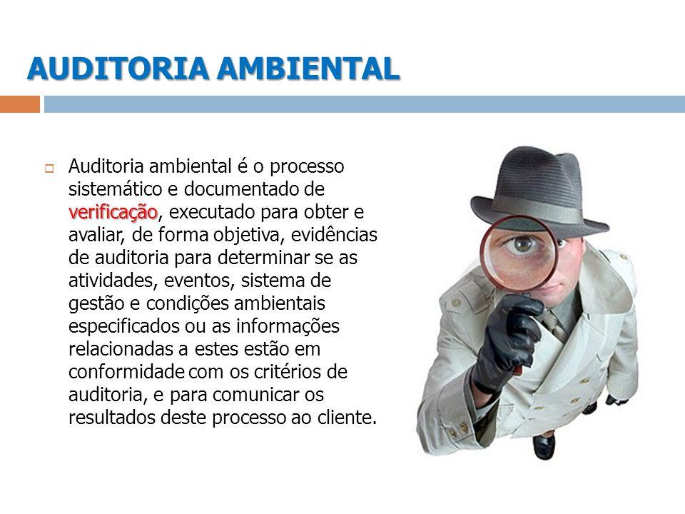 AUDITORIA AMBIENTAL verificação Auditoria ambiental é o processo sistemático e documentado de verificação, executado para obter e avaliar, de forma ob