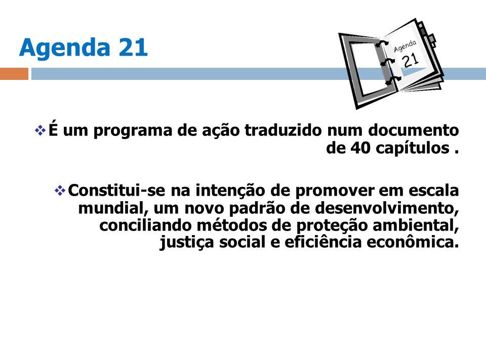 Agenda 21 É um programa de ação traduzido num documento de 40 capítulos. Constitui-se na intenção de promover em escala mundial, um novo padrão de des