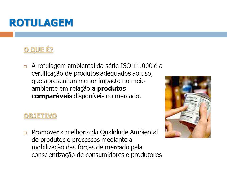 ROTULAGEM O QUE É? A rotulagem ambiental da série ISO 14.000 é a certificação de produtos adequados ao uso, que apresentam menor impacto no meio ambie