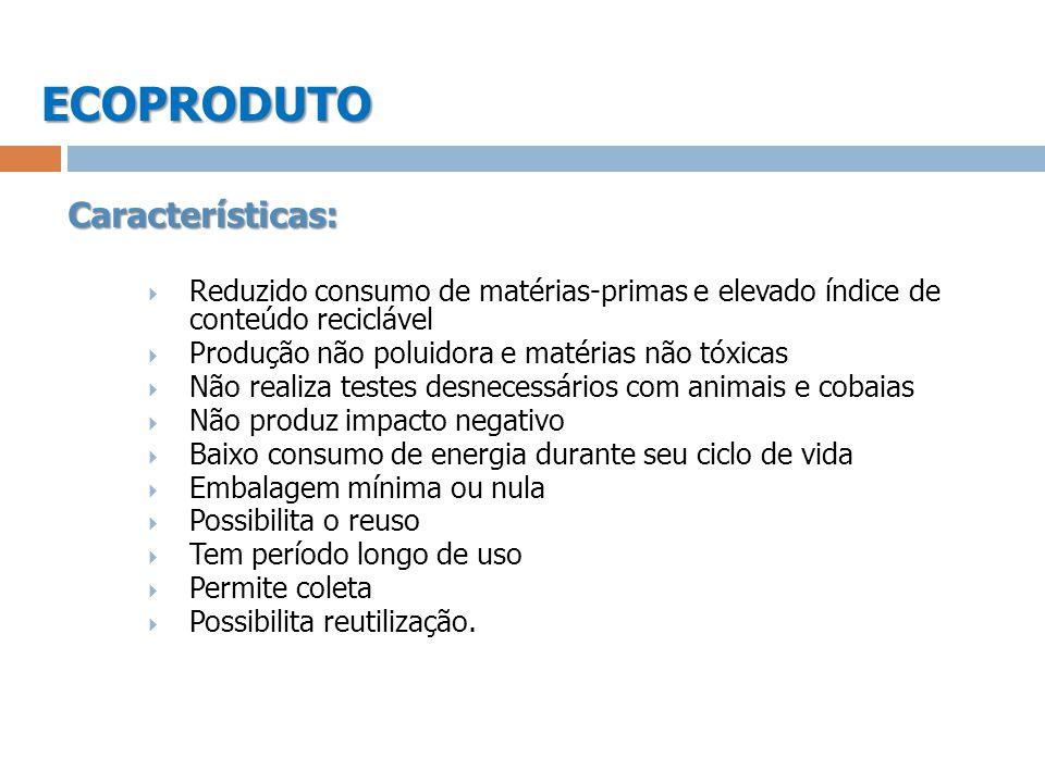 ECOPRODUTOCaracterísticas: Reduzido consumo de matérias-primas e elevado índice de conteúdo reciclável Produção não poluidora e matérias não tóxicas N