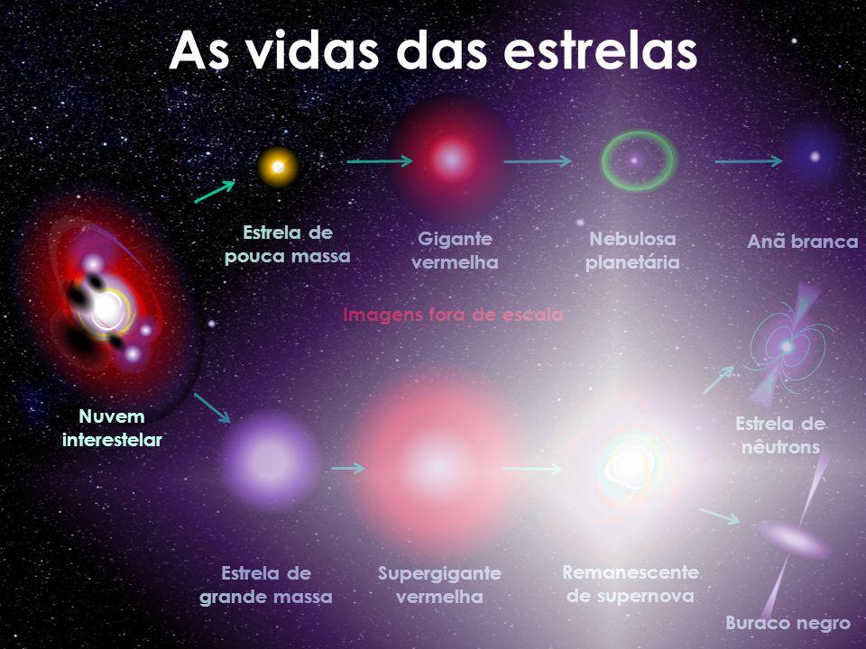 Estrela de grande massa Supergigante vermelha Remanescente de supernova Buraco negro Estrela de nêutrons Imagens fora de escala Estrela de pouca massa Gigante vermelha Nebulosa planetária Anã branca As vidas das estrelas Nuvem interestelar