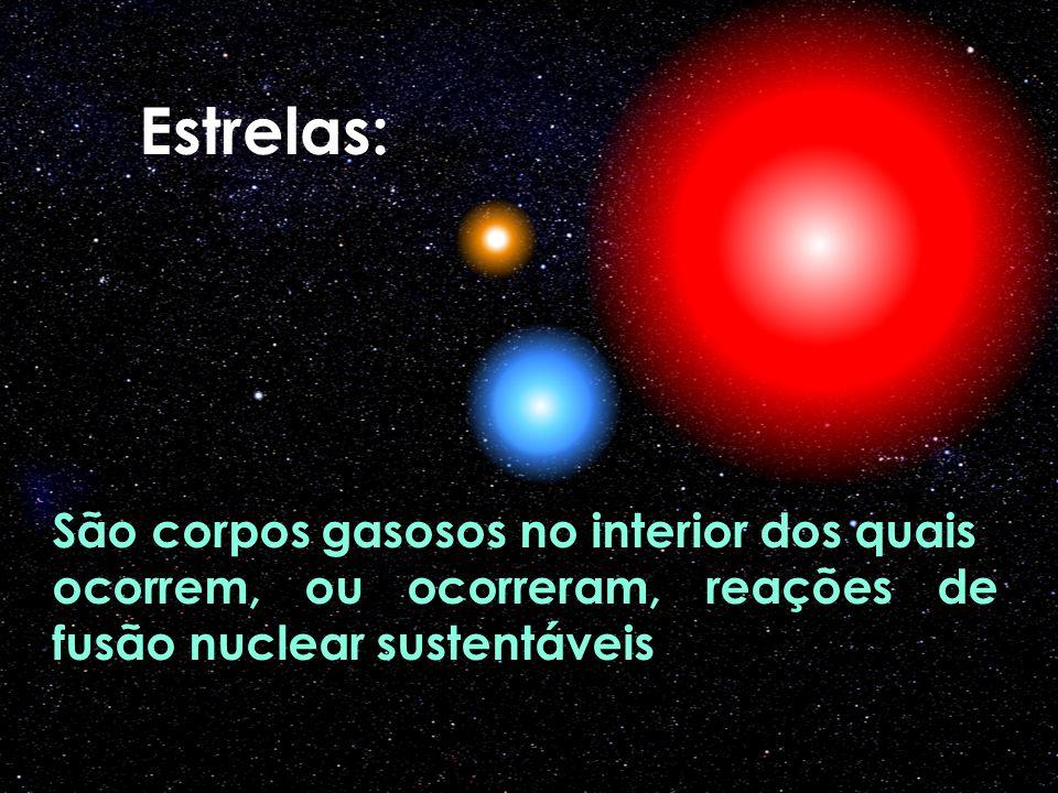 São corpos gasosos no interior dos quais ocorrem, ou ocorreram, reações de fusão nuclear sustentáveis Estrelas: