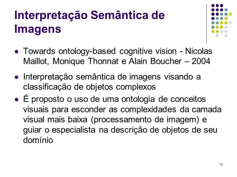 15 Interpretação Semântica de Imagens Towards ontology-based cognitive vision - Nicolas Maillot, Monique Thonnat e Alain Boucher – 2004 Interpretação