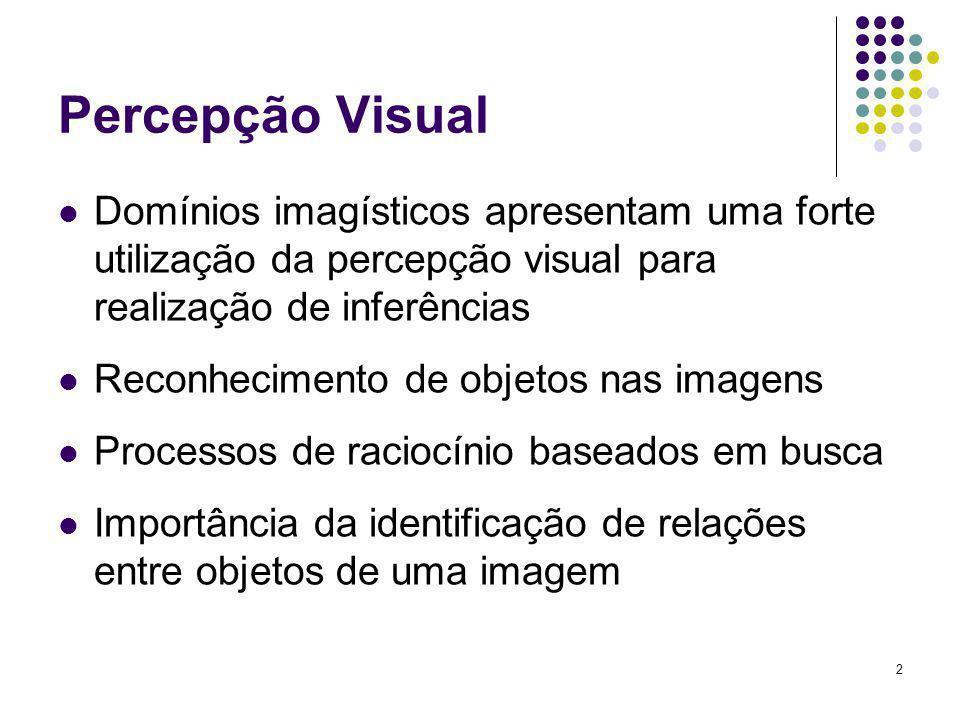 2 Percepção Visual Domínios imagísticos apresentam uma forte utilização da percepção visual para realização de inferências Reconhecimento de objetos n