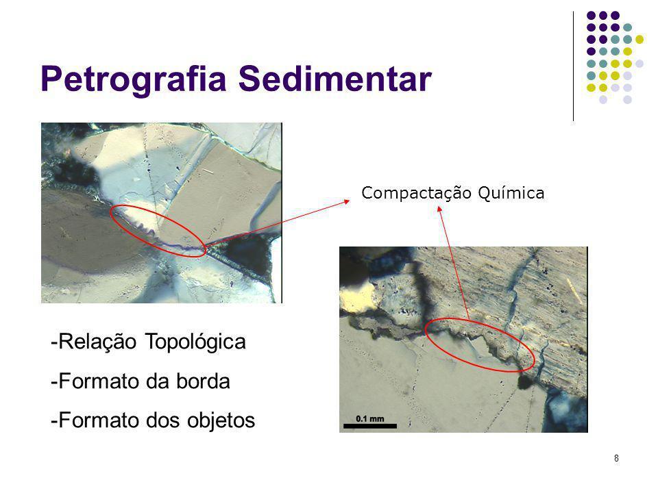 8 Petrografia Sedimentar Compactação Química -Relação Topológica -Formato da borda -Formato dos objetos