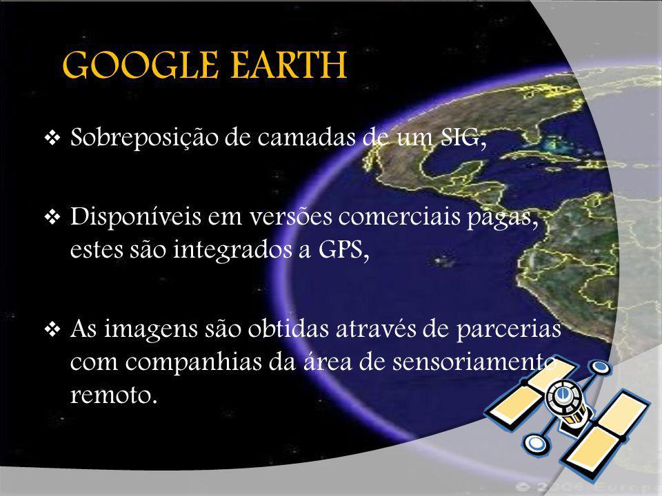 HISTÓRICO Desenvolvido pela empresa Keyhole (Earth Viewer), adquirida pela Google em 2004, Lançado em 2005 com o título Google Earth, disponível para uso em computadores pessoais, Base de usuários ultrapassa 100milhões.